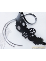 Black Steampunk Leather Gear Headdress