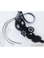 Black Steampunk Leather Gear Headdress