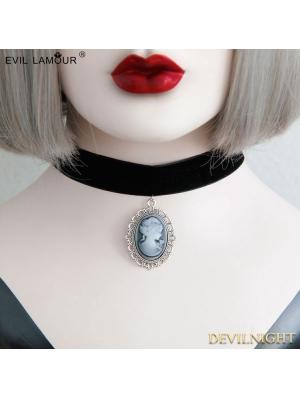 Black Gothic Vintage Silver Pendant Necklace