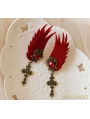 Red Gothic Wing Holloween Party Earring