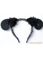 Black Gothic Lace Horn Holloween Headdress