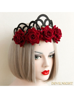 Black and Red Gothic Rose Holloween Headdress