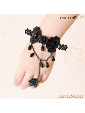 Black Gothic Rose Lace Bead Bracelet Ring Jewelry