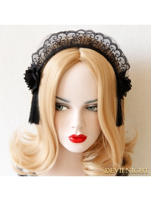 Black Gothic Tassel Lace Headdress