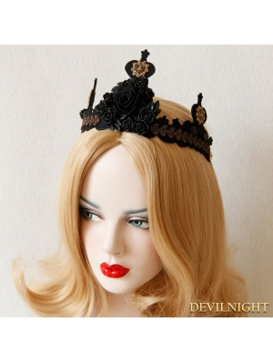 Black Gothic Rose Crown Party Headdress