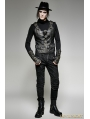Black PU Leather Army Uniform Style Steampunk Vest for Men