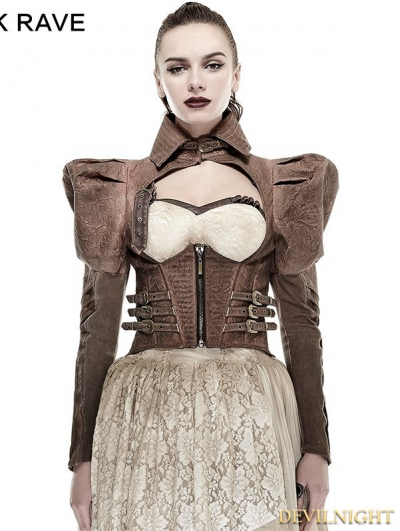 Coffee Handsome Steampunk Short Jacket for Women