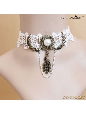 White Gothic Lace Peacock Pendant Necklace