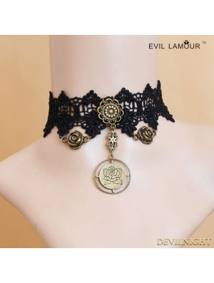 Black Gothic Rose Lace Pendant Necklace