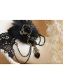 Black Gothic Fur Rose Party Necklace