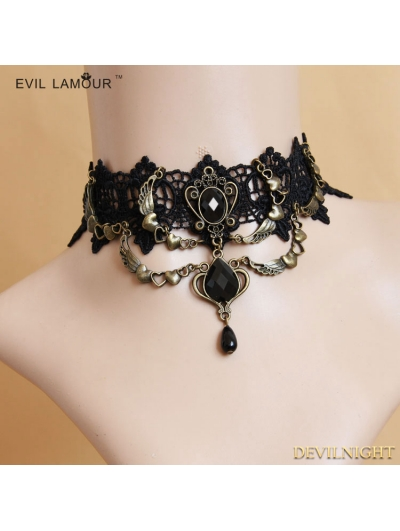 Black Gothic Wing Lace Party Necklace