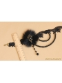 Black Gothic Fur Bead Party Necklace