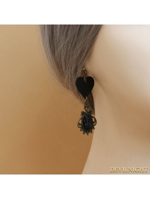 Black Gothic Heart Earrings