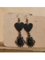 Black Gothic Heart Earrings