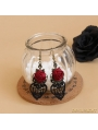 Black and Red Rose Lace Earrings