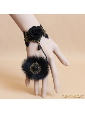 Black Gothic Fur Rose Bracelet Ring Jewelry