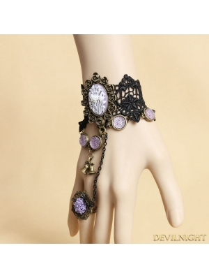 Black and Violet Vintage Lace Bracelet Ring Jewelry