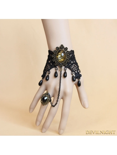 Black Gothic Leopard Lace Bracelet Ring Jewelry