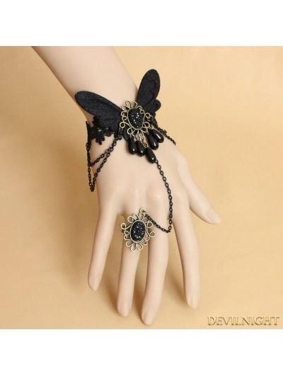 Black Gothic Butterfly Bracelet Ring Jewelry