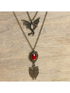 Bronze Gothic Vintage Bat Pendant Long Necklace