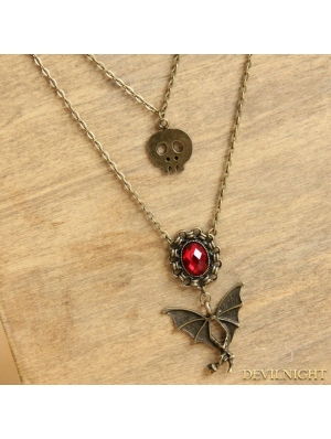 Bronze Gothic Vintage Ruby Pendant Long Necklace