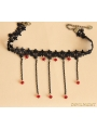 Black Gothic Bead Tassel Necklace
