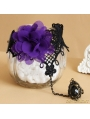 Black Gothic Violet Lace Bracelet Ring Jewelry