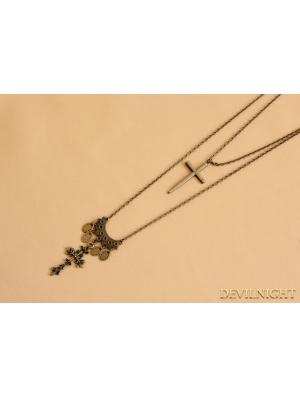 Bronze Gothic Vintage Cross Pendant Necklace