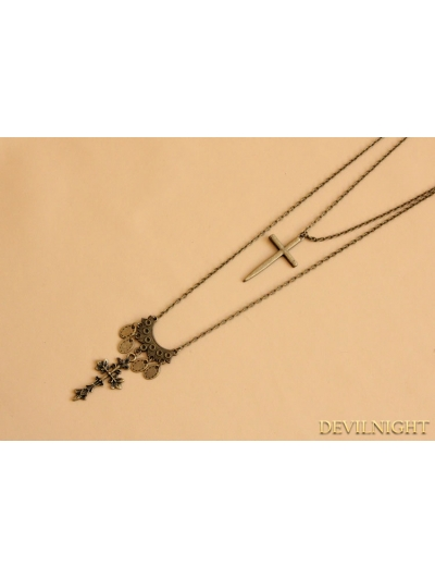 Bronze Gothic Vintage Cross Pendant Necklace
