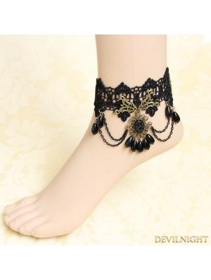 Black Gothic Lace Vintage Elegant Ankle Bracelet