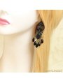 Black Gothic Lace Elegant Pearl Earring