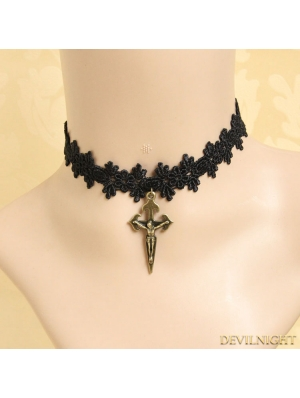 Black Gothic Lace Cross Pendant Necklace
