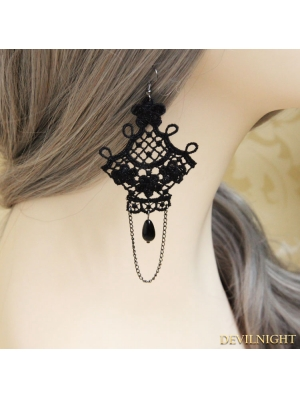 Black Gothic Lace Earring