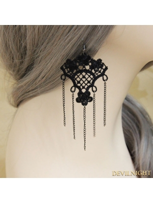 Black Gothic Tassel Lace Earring