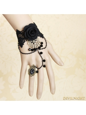 Black Gothic Vintage Rose Lace Bracelet Ring Jewelry