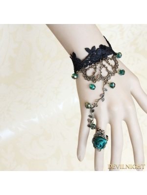 Black Gothic Green Bead Lace Bracelet Ring Jewelry