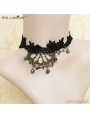 Black Gothic Lace Bronze Branch Necklace
