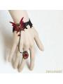 Red Gothic Vampire Tassel Bracelet Ring Jewelry