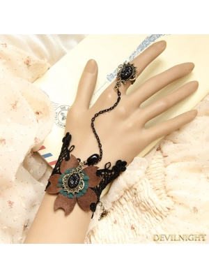 Coffe Steampunk Flower Pendant Bracelet Ring Jewelry