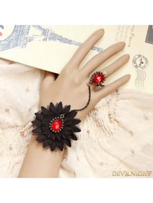 Black Gothic Vampire Ruby Lace Bracelet Ring Jewelry