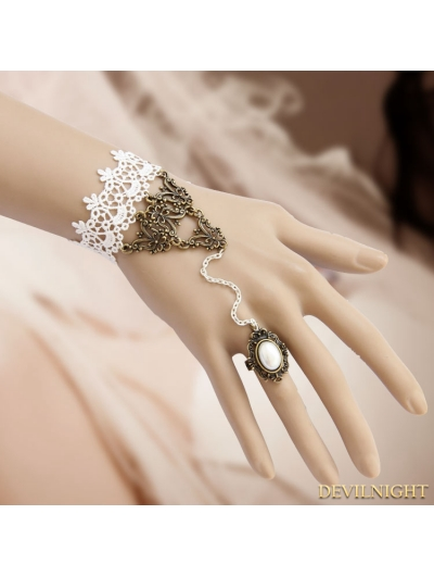 White Vintage Lace Party Bracelet Ring Jewelry