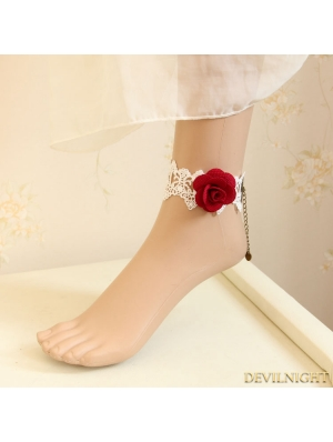 White and Red Rose Wedding Ankle Bracelet