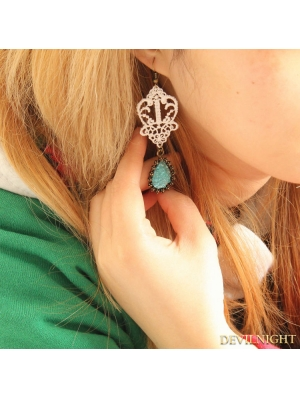 White and Blue Lace Vintage Earring