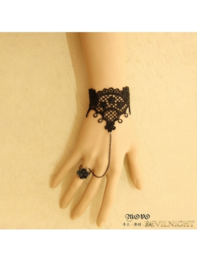 Black Gothic Rose Lace Bracelet Ring Jewelry