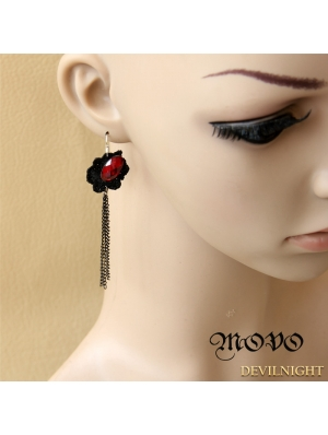Black Gothic Tassel Ruby Earring