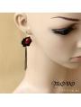 Black Gothic Tassel Ruby Earring