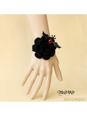 Black Gothic Flower Bat Bracelet