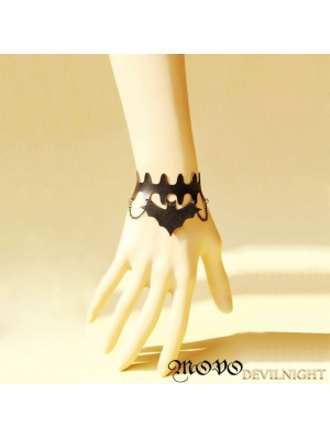 Black Gothic Leather Bat Bracelet