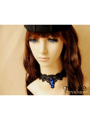 Black Gothic Vampire Lace Pendant Party Necklace