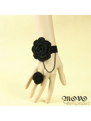 Black Gothic Flower Party Bracelet Ring Jewelry